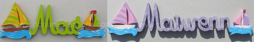 Lettrage bois avec bateaux