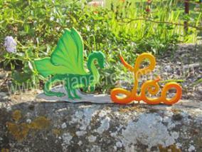 Lettres bois dragon leo 1
