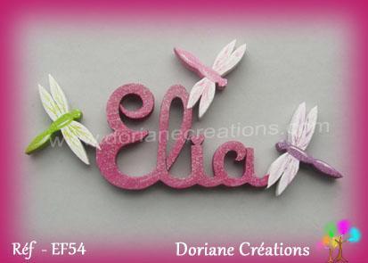 Lettres bois elia libellules