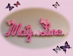 Lettres bois may line deco papillons