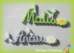 Lettres bois theme nenuphar