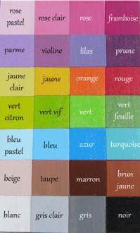 Nuancier des couleurs unies pour prenoms filles