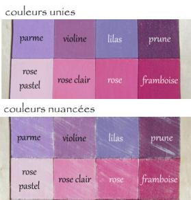 Nuancier rose mauve
