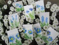 Peinture encaustique fleurs bleues pour cartes cadeaux
