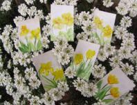 Peinture encaustique fleurs jaunes pour cartes cadeaux