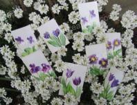 Peinture encaustique fleurs mauves pour cartes cadeaux