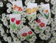 Peinture encaustique fleurs rouges pour cartes cadeaux