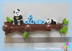 Portemanteau decor pandas avec prenom garcon