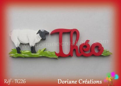 Prenom bois theo avec mouton
