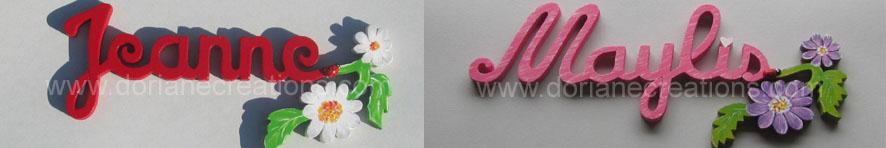 Prenom en bois fleurs