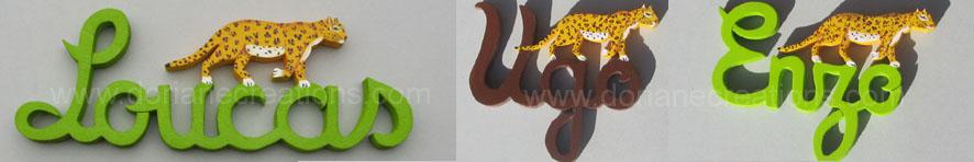 Prenom en bois leopard 1