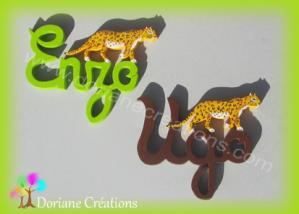 Prenom en bois leopard