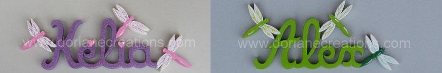 Prenom en bois libellules