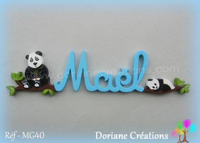 Prenom en bois mael pandas