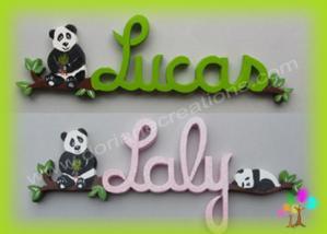 Prenom en bois panda