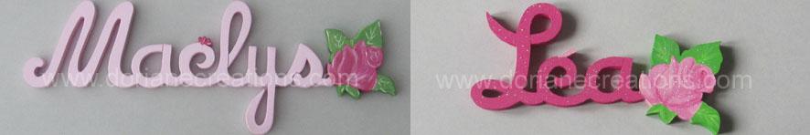 Prenom en bois rose 2