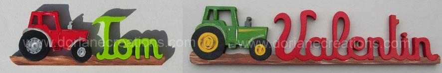 Prenom en bois tracteur 1
