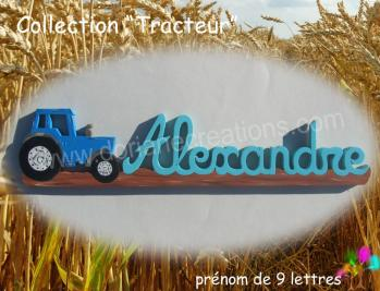 Prenom en bois tracteur 9l 1