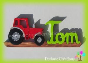 Prenom en bois tracteur