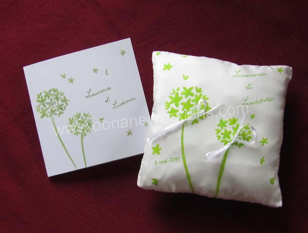 Coussin pour alliances en soie motif fleurs vertes