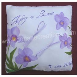 Coussin pour alliances en soie motif orchidées