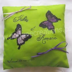 Coussin pour alliances en soie motif papillons
