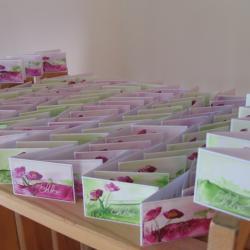 étiquettes dragées communion Chloé thème coquelicots fushias