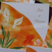 faire-part mariage arums peint à l'encaustique, Julie et Vincent 2009