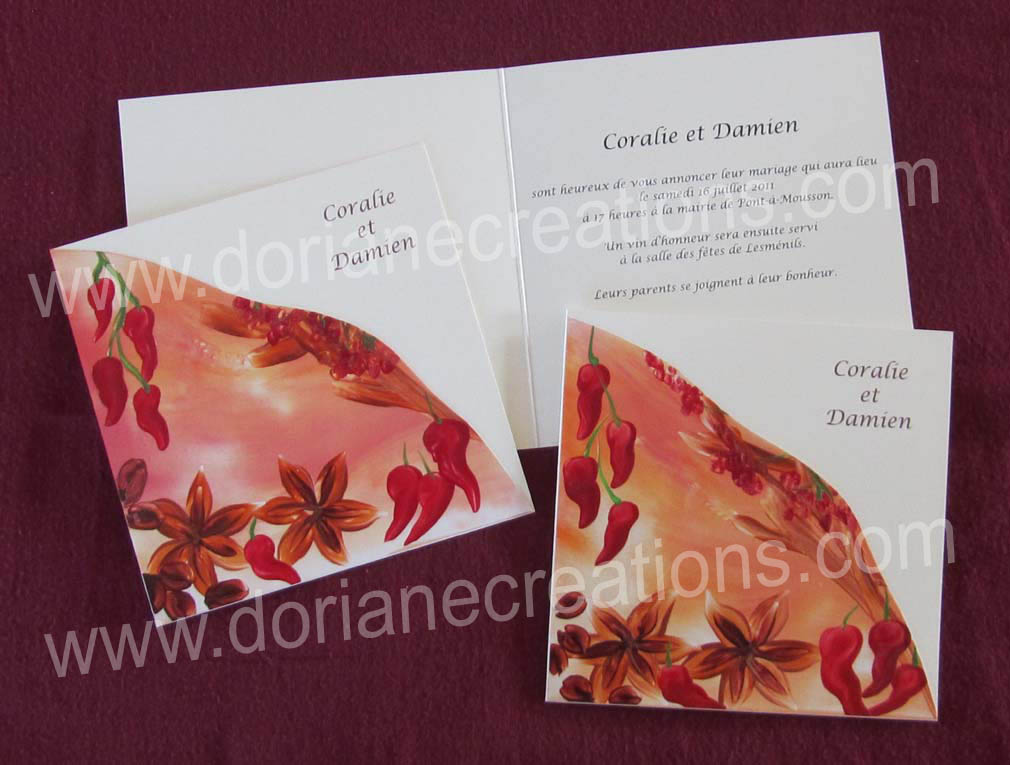 faire-part mariage épices, Coralie et Damien 2011