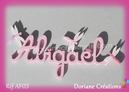 Lettres bois Abigaël avec libellules