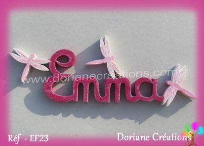 lettres bois Emma avec libellules