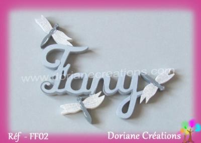 lettres bois Fany avec libellules