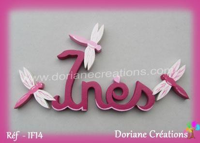 lettres bois Inès libellules