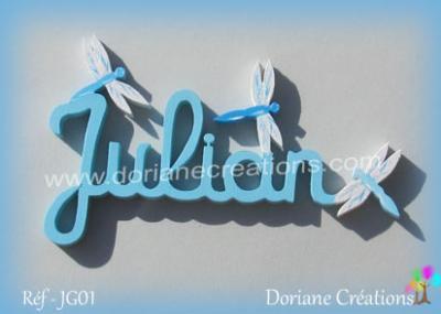 lettres bois Julian avec libellules
