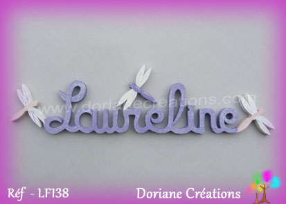 lettres bois Laureline avec libellules