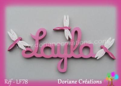 lettres bois Layla avec libellules