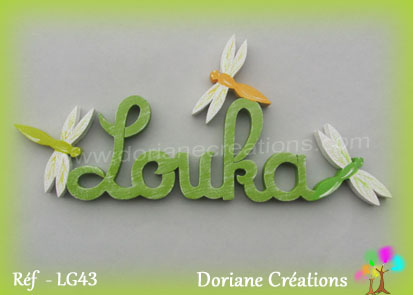 lettres bois louka avec libellules