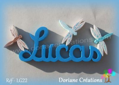 lettres bois Lucas avec libellules