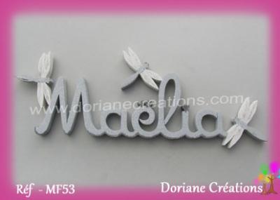 lettres bois Maélia avec libellules