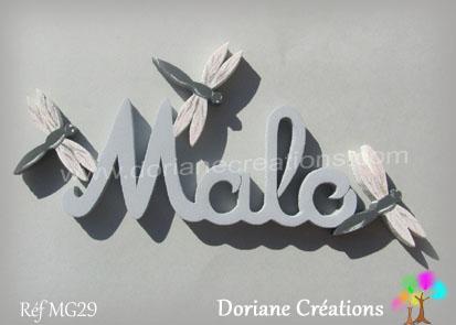lettres bois Malo avec libellules