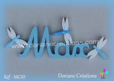 lettres bois Max avec libellules