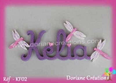 lettres en bois Kélia avec libellules