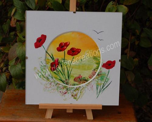 peinture encaustique coquelicots, sous verre 20x20cm SV02