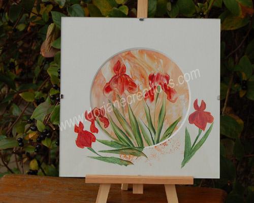 peinture encaustique iris orangés sous verre 20x20cm SV06