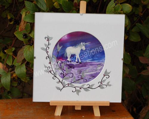 peinture encaustique licorne 2 sous verre 20x20cm SV09
