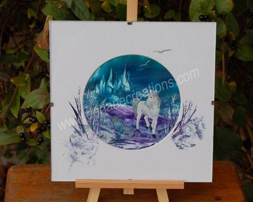 peinture encaustique licorne1 sous verre 20x20cm SV07