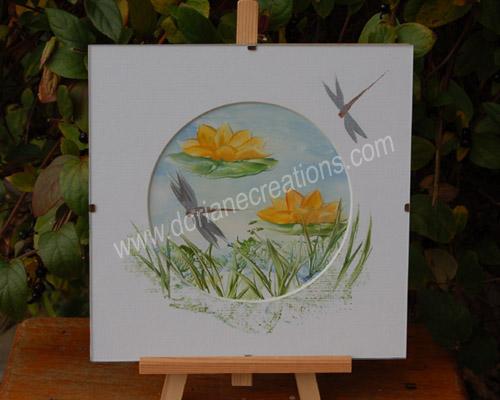 peinture encaustique nénuphars, sous verre 20x20cm SV01