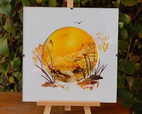 peinture encaustique paysage couché de soleil, sous verre 20x20cm SV05