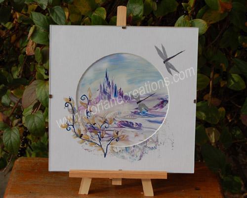 peinture encaustique paysage fantaisie, sous verre 20x20cm SV03