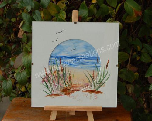 peinture encaustique paysage mer, sous verre 20x20cm SV04